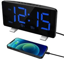 Digital Alarm Clock 7.3' Curved Led Screen Usb Port, Dimmer, Snooze, Fm Radio