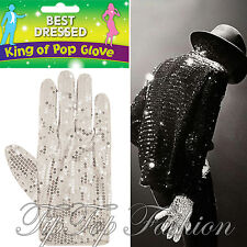 NUOVO Costume Michael Jackson ARGENTO STRASS BIANCO GUANTO BILLY JEANS RE DI POP
