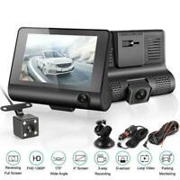 1PC 4'' HD 1080P 3 Lens Car DVR Dash Cam Vehicle Video Camera Rearview 170° Z2W4