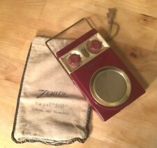 Vintage Zenith Royal 500 Transistor Radio Tubeless with Cloth Bag