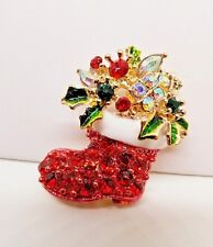 Multi Color Crystal Christmas Santa Boot With Holly Gold Tone Pin/Pendant