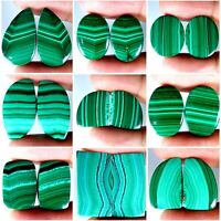 Natural Attractive Designer Malachite Mix Cabochon Matched Pair Gemstones PK15