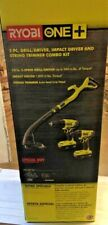 Ryobi ONE + 18 Volt Drill, Impact, And String Trimmer Combo Kit NEW FREE SHIP