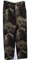 Vtg Valentino Boutique Womens Dress Pants Italy Leopard Print Brown Black Sz 12
