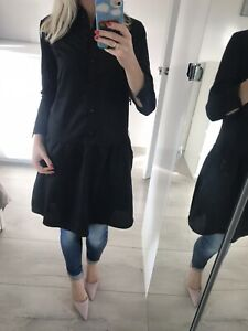 💕 G-star Raw S Small 8 Top Blouse  T-shirt Button Shirt Collar Dress Black