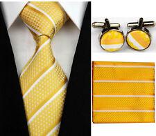 Necktie Men's Formal Yellow White Striped Tie Cufflinks Hanky Handkerchief Set