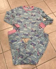 Disney Eeyore Piglet 2 piece long sleeve women's pajamas sz Medium 8 10 loveable