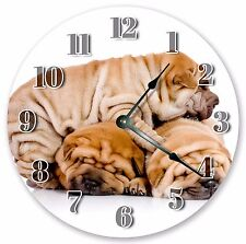 "10.5"" Shar Pei Puppies Dog Clock Large 10.5"" Wall Clock Home Décor Clock - 3039"