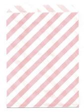 25 Pcs Light Pink Diagonal Stripes 5x7 Print Paper Gift Bags Favor Candy Shop
