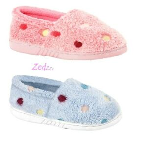 GIRLS Slippers SPOTTY Warm Comfy Pink Blue Soft Towelling Size 10 11 12 13 1 2