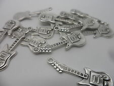20 x Electric Guitar charms,scrapbooking,card & jewellery making~Silver~30x10mm
