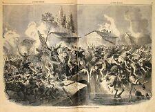 Stampa antica BATTAGLIA di PALESTRO Pavia zuavi intorno al ponte 1859 Old print