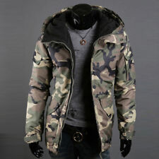Mens Camouflage Puffer Jacket Hooded Winter Army Coat Parka Overcoat Outerwear