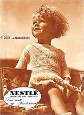 PUBLICITE NESTLE BEBE BABY FILLE JOIE DE VIVRE DE 1937 FRENCH AD PUB RARE SEPIA