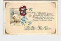 PPC POSTCARD WINSCH NEW YEAR POEM SNOW COVERED COTTAGE VIOLETS EMBOSSED
