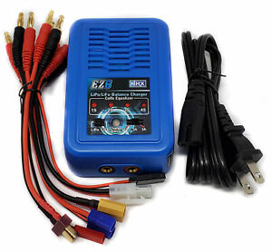 NHX EZ6 LiPo / LiFe 2-4s Fast AC Charger w/ XT60 Deans EC3 Tamiya JST Receiver