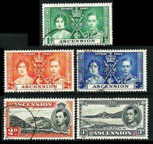 """ASCENSION 1937/38: King George VI.: Krönung + Landesmotive """"A"""" gez. 13½ (G030)"""