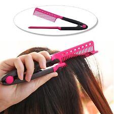 Newest Folding V-Shape Comb Hair Straightener Hairdressing Straightene Brush