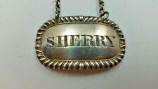 """SCOTTISH STERLING SILVER DECANTER WINE LABEL """"SHERRY"""" GEORGE McHATTIE EDINBURGH"""