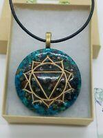 Pyrite, Peacock Ore, & Chrysocolla Solar Plexus Chakra Crystal Orgone Pendant