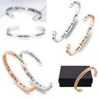 Stainless Steel Cuff Open Mouth Bracelet+Box,Bangle in Fun Inspirational Sayings