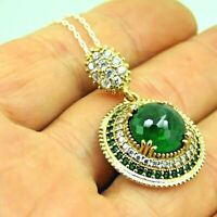 Turkish Handmade Jewelry 925 Sterling Silver Emerald Stone Women Necklace