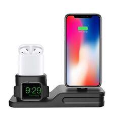 iPhone Dockingstation 3 in 1 Ladestation AirPods Apple Watch Ständer Schwarz