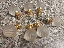 7 x Vintage Glass & Gold Drawer /cupboard  1970-80s  knobs