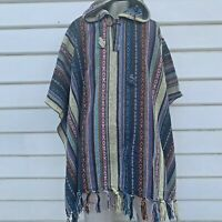 Hooded Poncho Men Mexican Baja Coat Unbrushed Cape Unisex Nepalese Cotton Hood 1