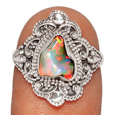 Ring Jewelry s.7 Br21296 242E Ethiopian Opal Rough 925 Sterling Silver