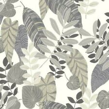 1 ROLL SEABROOK Wallquest RY30908 Tropicana Leaves Charcoal Stone Daydream Grey