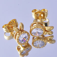 Rabbit Ears crystal stud Earing 18K Yellow Gold Filled Earing New Ear