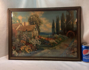 Vtg 1927 R. Atkinson Fox Country Cottage English Flower Garden Framed Print