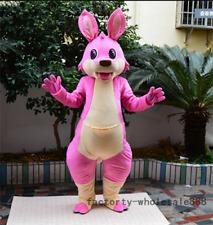Advertising Pink Kangaroo Mascot Costume Suit Parade Birthday Adult Dress Outfit