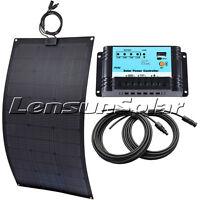 ETFE 80W 12V Black Flexible Solar Panel Full Charge kit 10A Regulator,5m Cables