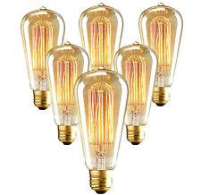 6-Pack EDISON 110V 60W Watt Light Bulbs Incandescent Filament E26 ST64 Bulb
