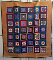Beautiful Hand Screened/ Hand Painted/Machine Quilted Star Pattern Quilt 49 x 54