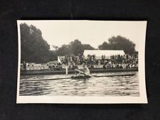 Vintage BW Real Photo #CA: Rower On The River: Crowd On Bank