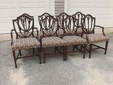 Eight Hepplewhite Style Shield Back Carved Mahogany Wheat Form Dining Chairs