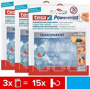 3er Pack tesa Powerstrips Dekohaken selbstklebend transparend smal 58900-00013