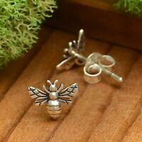 Tiny Bee Earrings Honeybee Bumblebee Post Stud Sterling Silver Insect 6045