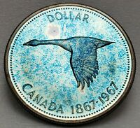 🍁 1967 Canada $1 Silver Dollar Coin 1967-1867 Canadian Goose, Free Shipping