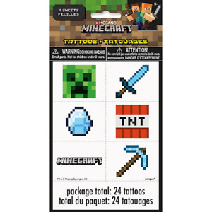 Minecraft Birthday Party Temporary Tattoos Party Bag Fillers 24 Pack