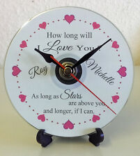 Personalised How Long Will I Love You Lyrics CD Clock Wedding Present Gift Heart