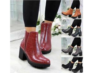 Womens Ankle Boots Block Mid Heel Ladies Zip Studded Elastic Smart Booties Shoes