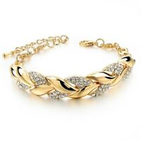 Women Exquisite Rhinestone Crystal Gold Bracelet Adjustable Bangle Cuff Jewelry