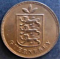 1903 H GUERNSEY 1 Double, nice orange/brown grading UNCIRCULATED.