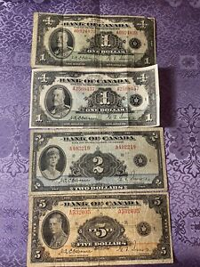 Canada Dollars 1935 Banknote Lot Of 4 Circulated- Collectable $1 $2 $5