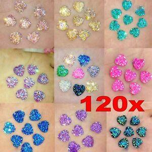 120x Heart Flat Back Resin Rhinestones Wedding Craft Glitter Cabochon Gems 12mm