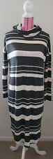 Betty Basics Sz 12 long sleeve turtleneck grey/cream striped dress